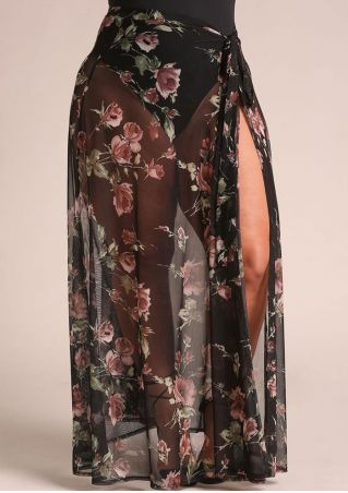 Plus Size Floral Sarong Cover Up