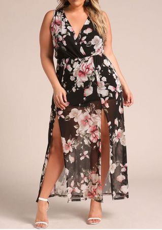 Plus Size Floral Slit Deep V-Neck Maxi Dress