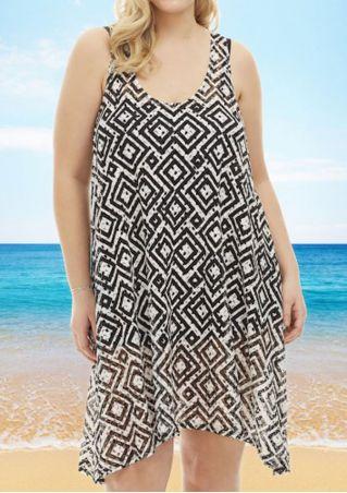 Plus Size Geometric Printed Sleeveless Casual Dress