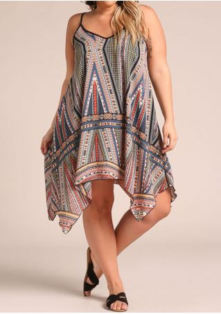Plus Size Geometric Printed Spaghetti Strap Casual Dress