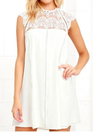 Solid Lace Floral Splicing Mini Dress