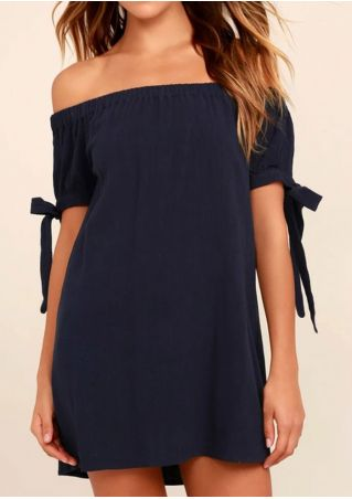 Solid Off Shoulder Tie Mini Dress
