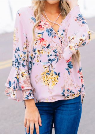 Floral Criss-Cross Flare Sleeve Blouse