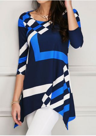 Color Block Asymmetric O-Neck Blouse without Necklace