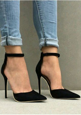 Solid Ankle Strap Pointed Toe Heels