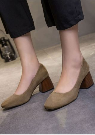 Solid Round Toe Heeled Heels