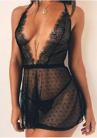 Solid Mesh See-Through Lingerie without Necklace