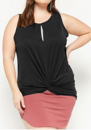 Plus Size Solid Twist Hollow Out Tank