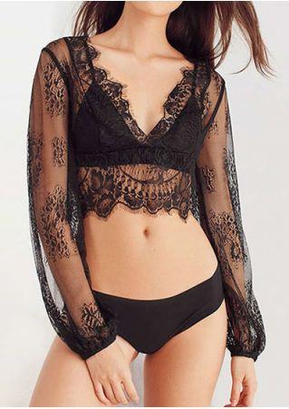 Solid Lace Floral See-Through Lingerie