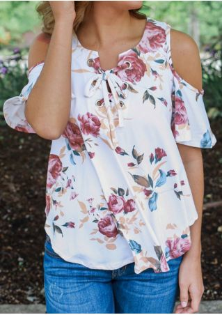 Floral Cold Shoulder Lace Up Blouse