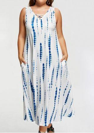 Plus Size Tie Dye Pocket Maxi Dress