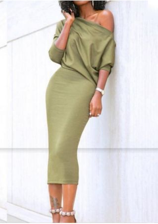 Solid One Shoulder Bodycon Dress