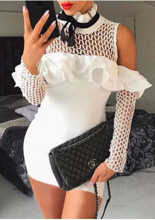 Ruffled Hollow Out Cold Shoulder Bodycon Dress