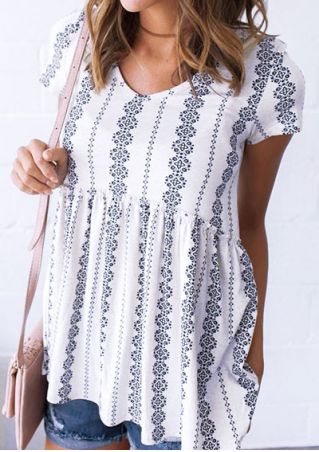 Printed V-Neck Short Sleeve Blouse without Choker