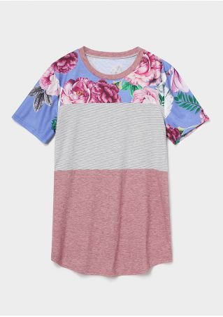 Floral Striped O-Neck T-Shirt