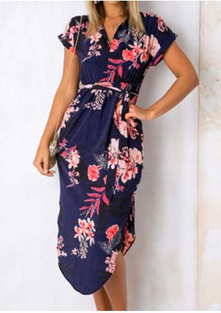 Floral V-Neck Short Sleeve Casual Dress without Necklace