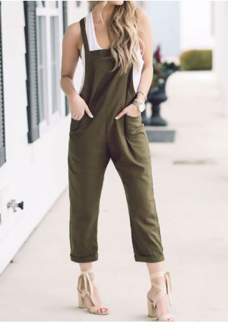 Solid Pocket Suspender Trousers