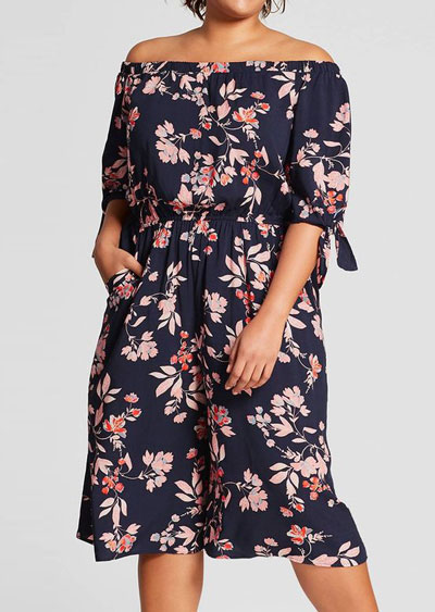 Image of Plus Size Floral Off Shoulder Pocket Romper