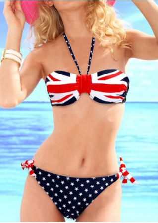 The Union Flag Printed Halter Bikini Set