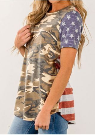 American Flag Camouflage Printed T-Shirt