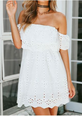Solid Hollow Out Off Shoulder Mini Dress without Choker