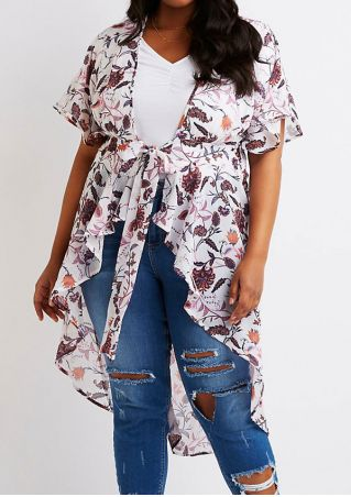 Plus Size Floral Tie Short Sleeve Cardigan