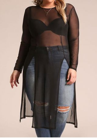 Plus Size Solid See-Through Slit Blouse without Necklace
