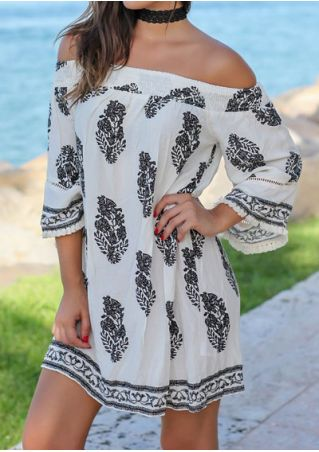 Printed Off Shoulder Mini Dress without Choker