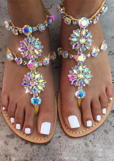 Imitated Crystal Flat Sandals Fairyseason