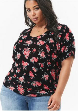 Plus Size Floral O-Neck Blouse without Necklace
