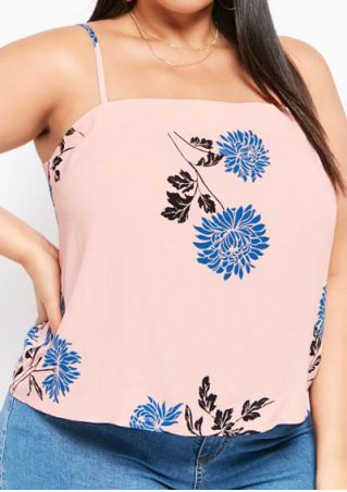 Plus Size Floral Spaghetti Strap Camisole without Necklace