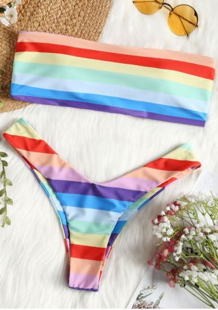 Rainbow Printed Bikini Set