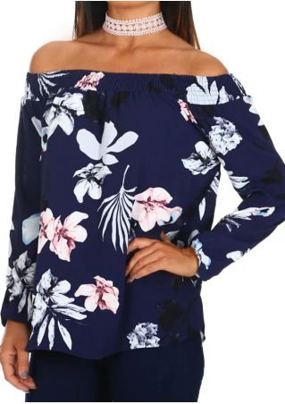 Floral Off Shoulder Long Sleeve Blouse without Choker
