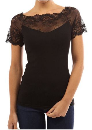 Solid Lace Splicing Short Sleeve Blouse