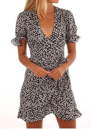 Floral Ruffled Deep V-Neck Mini Dress