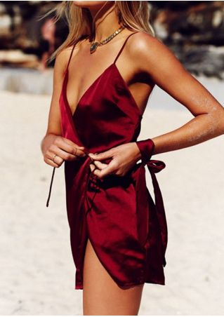 Solid Spaghetti Strap Mini Dress without Necklace