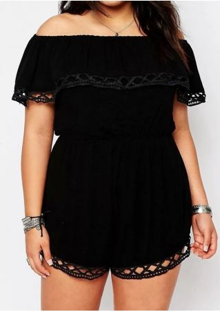 Plus Size Solid Hollow Out Romper without Necklace