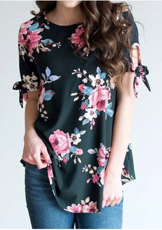 Floral Tie O-Neck Short Sleeve Blouse