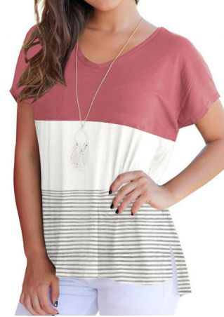 Color Block Striped V-Neck T-Shirt without Necklace