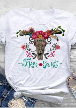 Free Spirit Skull Floral T-Shirt