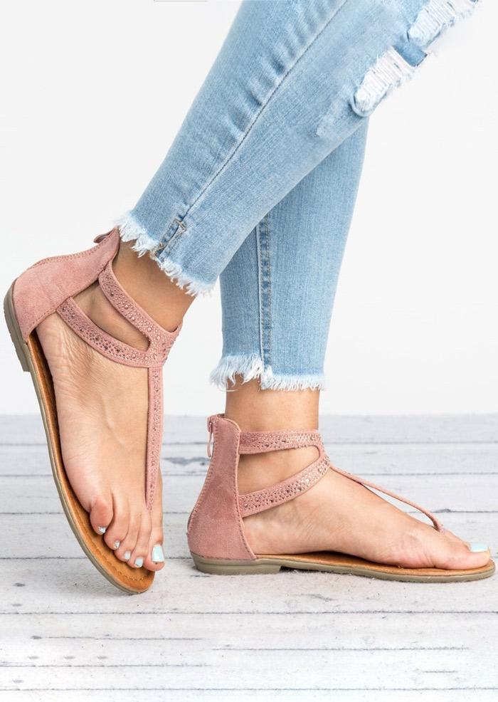 Solid Zipper Flat Sandals