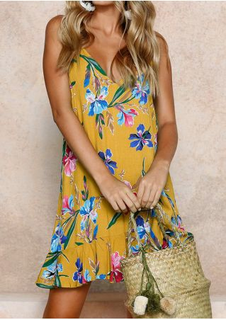 Floral Spaghetti Strap Deep V-Neck Mini Dress