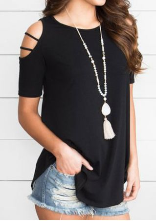 Solid Cold Shoulder Blouse without Necklace
