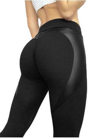 Solid Splicing High Waist Sport Pants