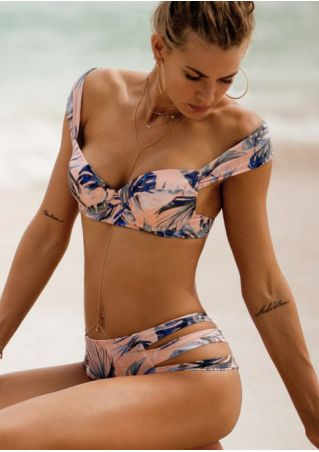 Printed Hollow Out Bikini Set without Necklace