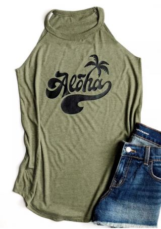 Aloha Coconut Tree O-Neck Tank