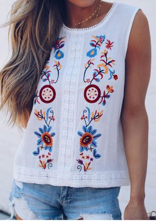 Embroidery Lace Splicing Tank without Necklace