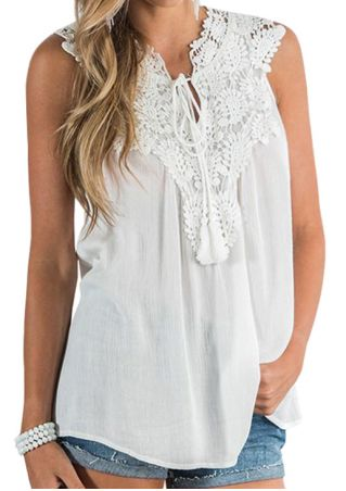 Solid Lace Splicing Tie Tank