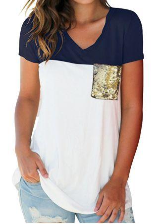 Color Block Sequined Pocket T-Shirt