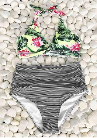 Floral Striped Halter Bikini Set